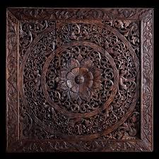 large carved wood panel teak wood wall hanging decorative