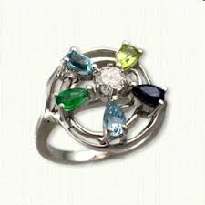 design a mothers ring custom flower design mothers ring set with diamond aqua genuine