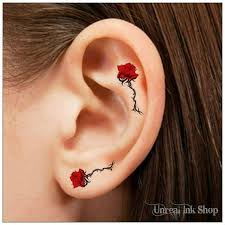 temporary 6 flower pink and black ear tattoos