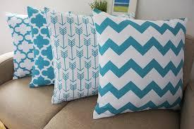 Throw Pillows Amazon Com Howarmer Canvas Cotton Aqua Blue Decorative Throw