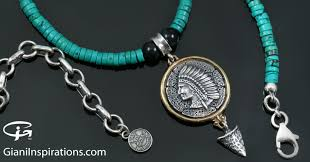 turquoise silver necklace jewelry images Cherokee native american turquoise beaded silver necklace bnk 174 jpg