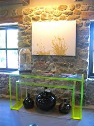 Clear Acrylic Desk Table Office Small Green Acrylic Console Table Near Stone Wall Work