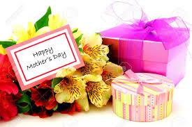 s day card boxes happy mothers day card with colorful flowers and gift boxes stock