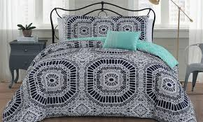 contemporary printed reversible duvet cover set 5 piece groupon