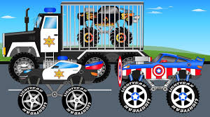monsters truck videos police monster truck vs black truck trucks for children kids