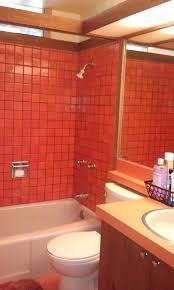 mid century mod orange bathroom tile retro renovation
