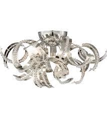 chrome flush mount light quoizel rbn1616crc ribbons 4 light 19 inch crystal chrome flush