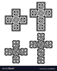 celtic cross set of traditional designs in black