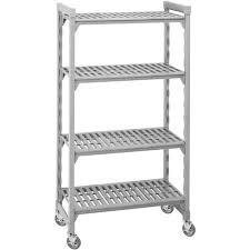 cambro speckled gray mobile shelving starter unit 36