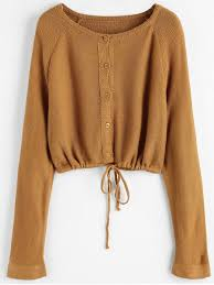 brown blouse button up crop cardigan light brown sweaters one size zaful