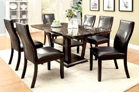 furniture of america dark cherry finia faux marble dining table