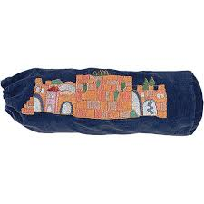 shofar bag jerusalem blue velvet shofar bag