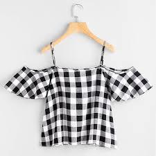 Amado Mulheres Verão Blusa Riscas Cold Shoulder Top blusas camisa xadrez  #NX67