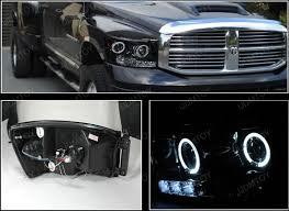 dodge ram headlight 06 08 dodge ram black housing dual halo projector led headlights