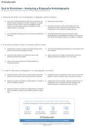 Examples Of An Autobiography Essay Quiz U0026 Worksheet Analyzing A Biography Autobiography Study Com