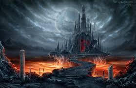 fantastic world gothic castle moon fantasy wallpaper at dark