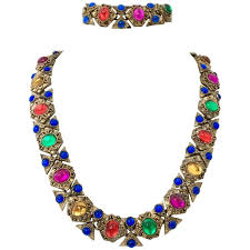 style gold necklace images 20th century etruscan style gold glass cabochon link necklace and jpg