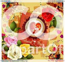Roses And Butterflies - clipart valentines day card with beautiful roses and