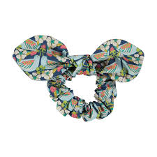 hair scrunchie bonpoint bird print blue bow hair scrunchie cloudo kids