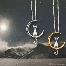 moon pendant necklace gold images Wholesale fashion cat moon pendant necklace charm silver gold jpg