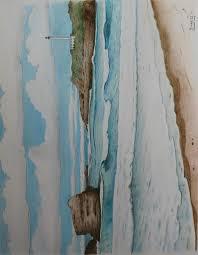 plage du miramar à biarritz 65 cm x 50 cm crayons de couleur