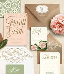 Wedding Invitation Suite Blush Pink And Gold Script Flower Garden Wedding Invitation Suite