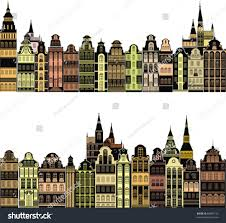 colorful cities set old colorful cities isolated on stock vector 88090135