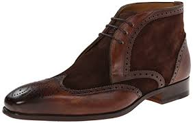 men brown brogue ankle suede and leather chukka boots men ankle