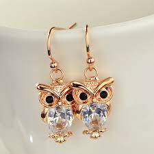 owl earrings owl earrings cubic zirconia jewellery gold