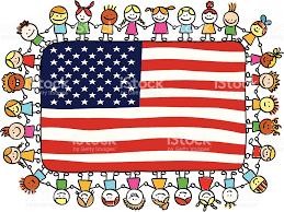 United States American Flag Patriotic Happy Children Friends Holding Usa American Flag Cartoon