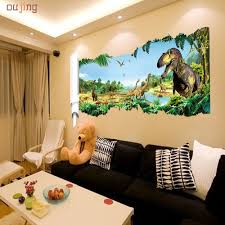 oujing happy home cartoon dinosaur world vinyl wall stickers for