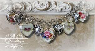 vintage heart bracelet images Vintage antique broken china jewelry heart bracelet jpg