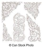 vector set of traditional thai ornaments on white clip