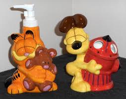 for sale garfield the cat odie dog bath accessories set ceramic