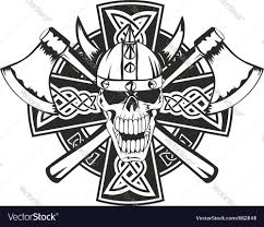 celtic cross and skull royalty free vector image