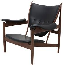 Black Leather Accent Chair Grande Leather Lounge Chair American Ash With Walnut Stain