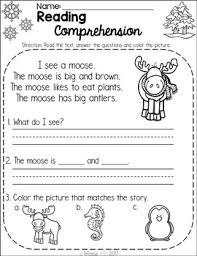 free kindergarten reading comprehension passages winter by