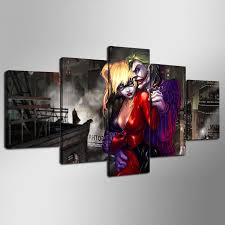 5 pieces sets canvas art hd new joker and harley quinn canvas