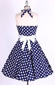 50s polka dot bigwhitedots navy blue halterneck swing dress 8160