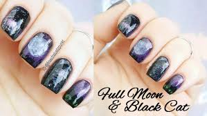 spooky halloween nails full moon u0026 black cat tutorial youtube
