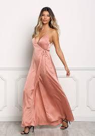 gold maxi dress junior clothing gold satin plunge wrap maxi dress
