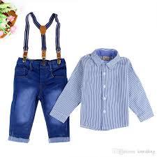2018 boys suspender trousers set striped sleeve shirt blue