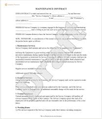 5 free maintenance contracts u2013 samples and templates u2013 small