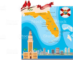 Pensacola Florida Map by Cartoon Map Of Florida Stock Vector Art 611632622 Istock