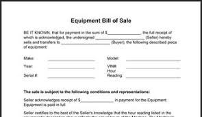 equipment bill of sale form