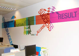 office interior graphic design by design wall illustration