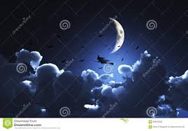 halloween background photos halloween background with witch flying through a moonlit sky stock