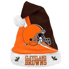 forever collectibles cleveland browns nfl swoop logo santa hat