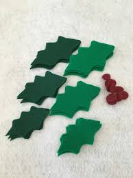 Felt Holly Green Holly Leaves With Red Berries Holly Leaf