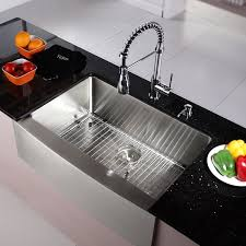 kitchen sink with faucet set kraus 30 inch farmhouse single bowl stainless steel kitchen sink